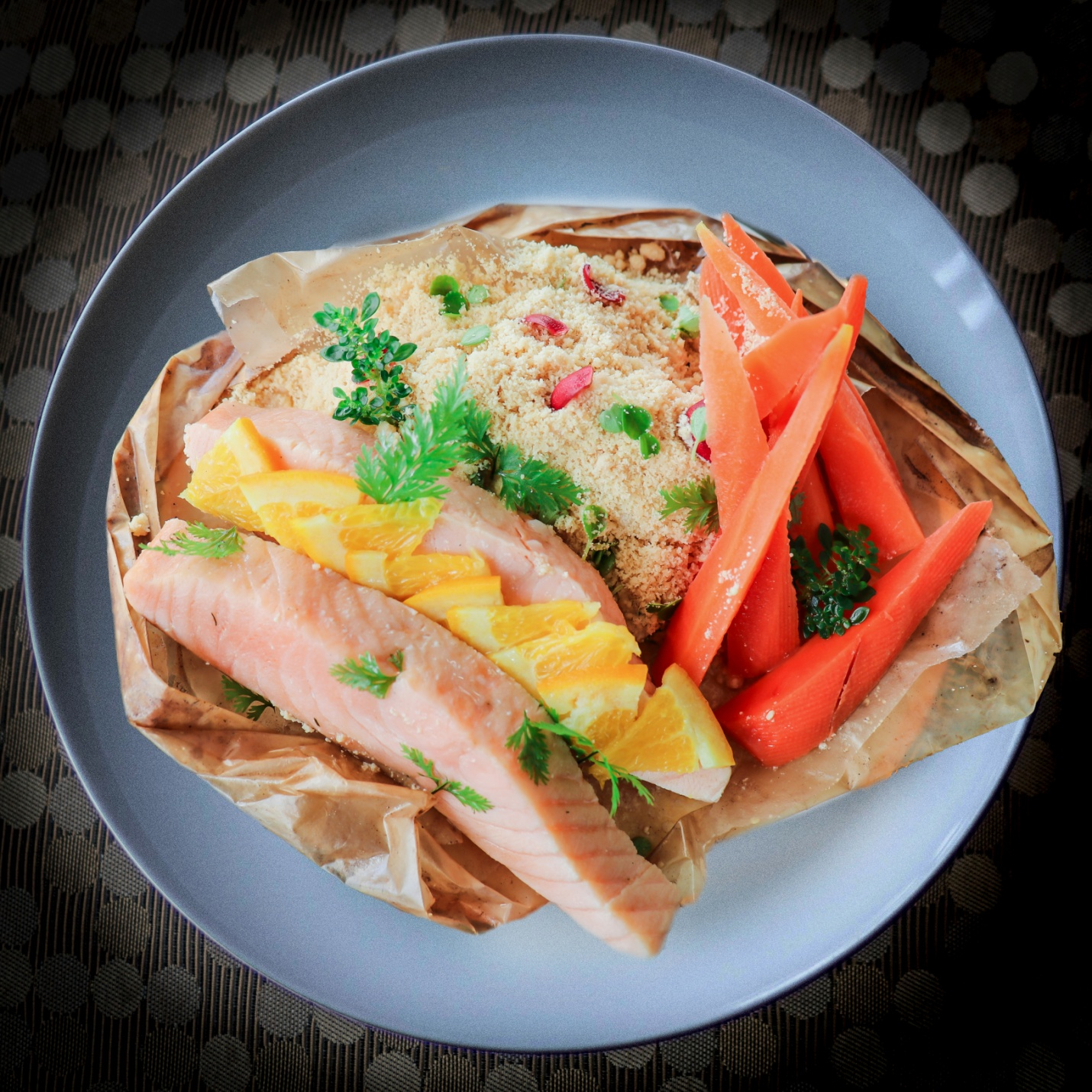D:\ROBBY PERSONAL FILES 2013\RMA FILES\OCEAN PARK\FEBRUARY 2021\FINAL PR PHOTOS\One Night in Tuscany - Salmon Papillote, Moroccan Spiced Couscous, Glazed Carrots, Lime Vinaigrette.jpg